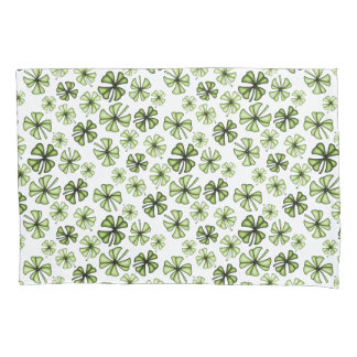 Lime Green Lucky Shamrock Clover Pillowcase