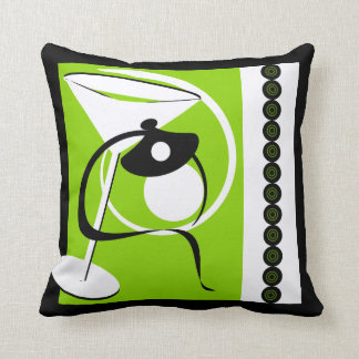 Lime Green Martini Abstract American MoJo Pillow