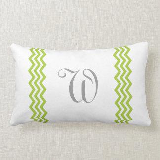 Lime Green Monogram Chevron Toss Pillow