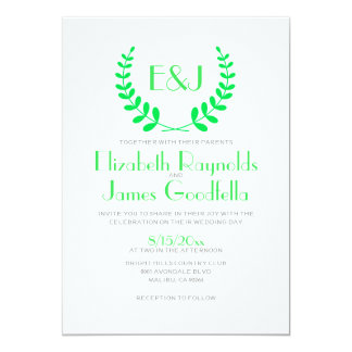 Lime Green Monogram Wedding Invitations