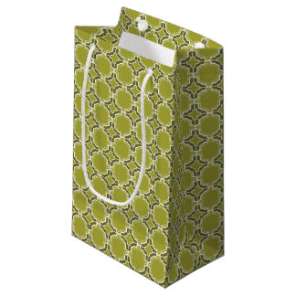 Lime Green Moroccan Lattice Pattern Small Gift Bag