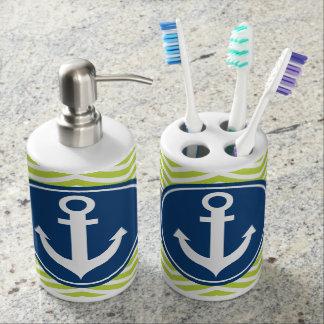 Lime Green Nautical Anchor Chevron Bathroom Set