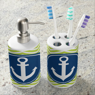 Lime Green Nautical Anchor Chevron Toothbrush Holders