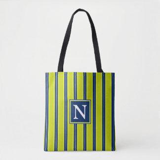 Lime Green Navy Blue and White Stripe Monogram Tote Bag