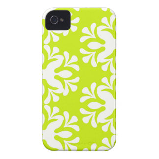Lime green neon damask floral girly pattern iPhone 4 case