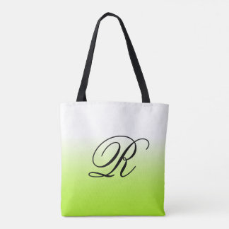 Lime Green Ombre Over Any Color with Monogram Tote Bag