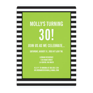 Lime Green on Black and White Stripe Party Card