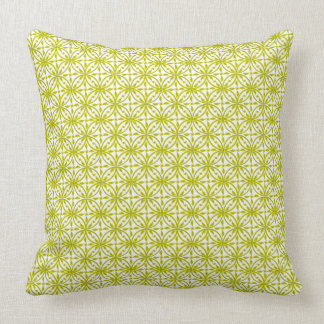 Lime Green on White Dun Huang Buddhist Floral Cushion