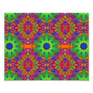 Lime Green Orange and Purple Stars Mandala Photo Art