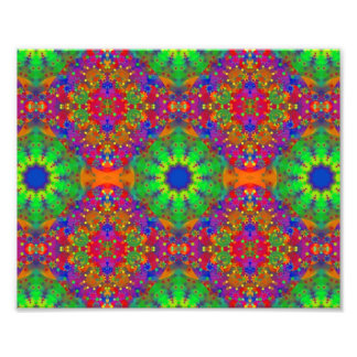 Lime Green Orange and Purple Stars Mandala Photo Print