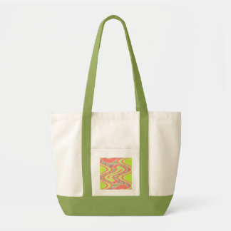 lime green orange mod abstract tote bags