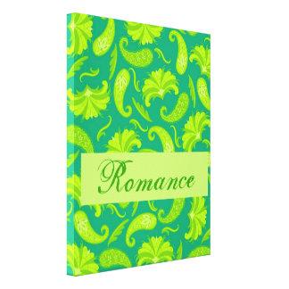 Lime Green  Paisley Romance Wrapped Art Canvas Canvas Prints