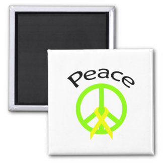 Lime Green Peace Word & Ribbon Square Magnet