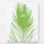 Lime Green Peacock Feather Mousepad