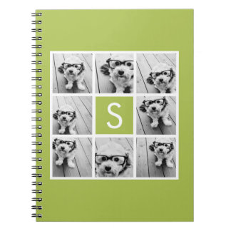 Lime Green Photo Collage Custom Monogram Spiral Note Book