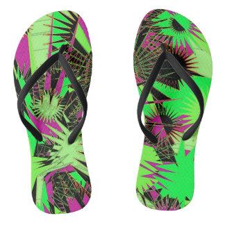 Lime Green/Pink Custom Slim Straps / Flip Flops