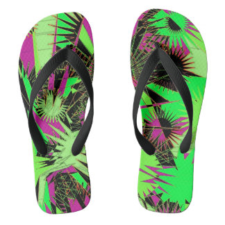 Lime Green/Pink Custom Wide Straps / Flip Flops