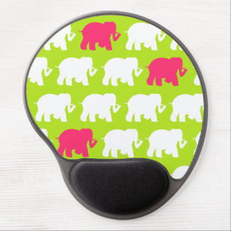 Lime green & pink elephants gel mousepad