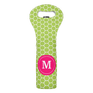 Lime Green Pink Honeycomb Monogram Wine Tote