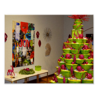 Lime Green & Pink Jingle Bowls Christmas Tree Poster
