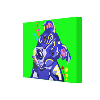 Lime Green Pit Bull Abstract Canvas Print