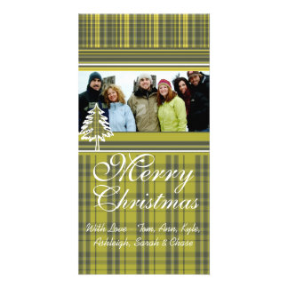 Lime Green Plaid Pine Tree Holiday Family Pictures Customized Photo Card