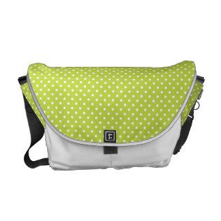 Lime green polka dot bag messenger bag