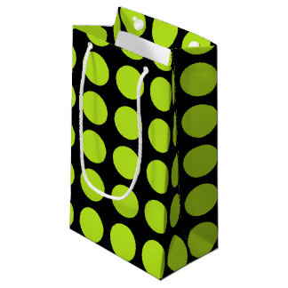 Lime Green Polka Dots Black Small Gift Bag