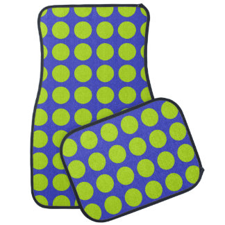 Lime Green Polka Dots Blue Car Mat