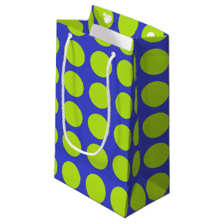 Lime Green Polka Dots Blue Small Gift Bag