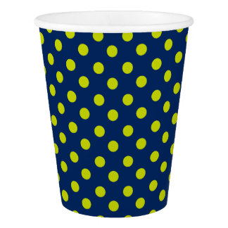 Lime Green Polka Dots on Navy Blue Paper Cup