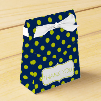 Lime Green Polka Dots on Navy Blue Personalized Favour Box