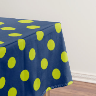 Lime Green Polka Dots on Navy Blue Tablecloth