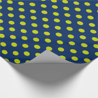Lime Green Polka Dots on Navy Blue Wrapping Paper
