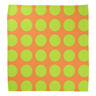 Lime Green Polka Dots Orange Bandana