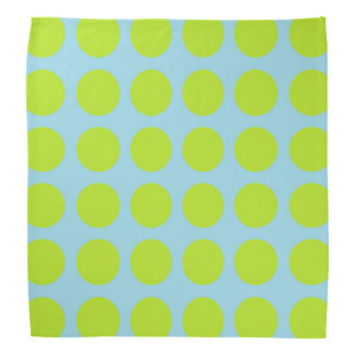 Lime Green Polka Dots Pastel Blue Bandana