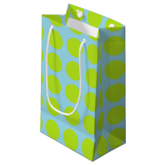Lime Green Polka Dots Pastel Blue Small Gift Bag