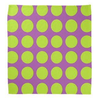 Lime Green Polka Dots Purple Bandana
