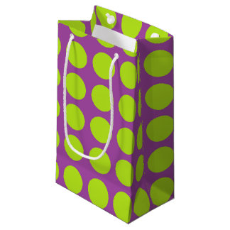 Lime Green Polka Dots Purple Small Gift Bag