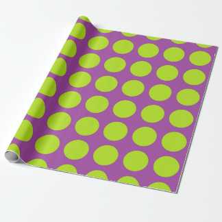 Lime Green Polka Dots Purple Wrapping Paper
