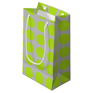 Lime Green Polka Dots Silver Small Gift Bag
