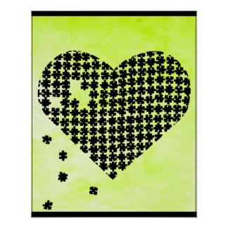 Lime Green Puzzle Heart Print