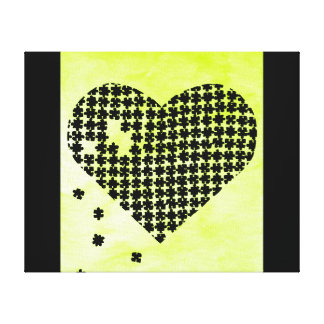Lime Green Puzzle Heart Stretched Canvas Print