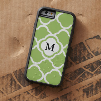 Lime Green Quatrefoil Customizable Monogram Tough Xtreme iPhone 6 Case