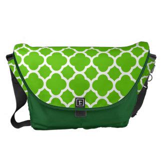 Lime Green Quatrefoil Pattern Courier Bags