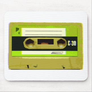 Lime Green Retro Cassette Tape Mouse Pad