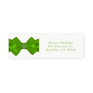 Lime Green Ribbon & Diamonds Chic Glam Invitation Return Address Label