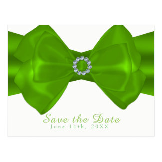 Lime Green Ribbon & Diamonds Elegant Save the Date Postcard