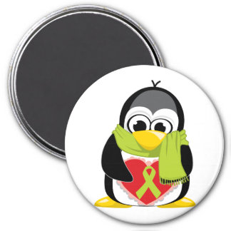 Lime Green Ribbon Penguin Scarf 7.5 Cm Round Magnet