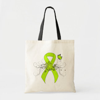 Lime Green Ribbon with Butterfly Tote Bag